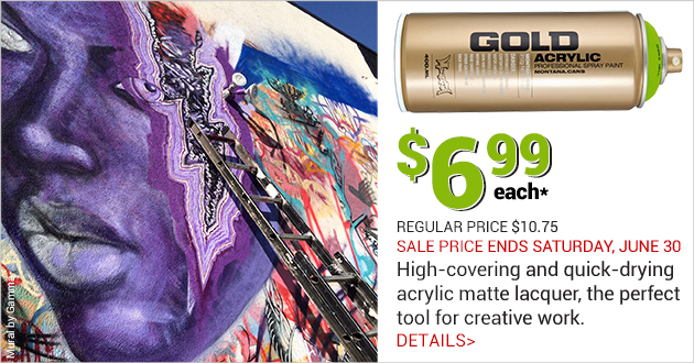 Montana GOLD Spray Paint on SALE for $6.99 per can through June 30, 2018