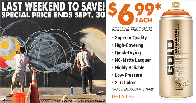 Montana GOLD Spray Paint Sale $6.99 thru September 30, 2018
