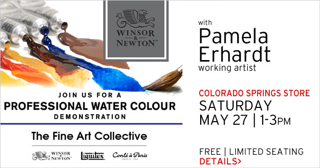 Colorado Springs store: Pamela Erhardt demonstrates Winsor & Newton Professional Watercolor, Saturday, May 27, 1-3pm